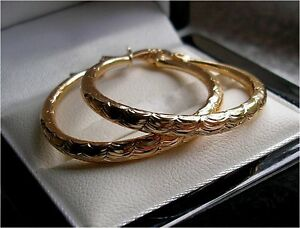 LARGE GENUINE 9CT GOLD HOOP EARRINGS GF,SELLING OUT FAST, SILLY PRICE! 071