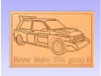 "Routered wooden wall Plaque ""Metro 6R4 rally car of 1986 era"""