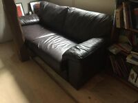 BROWN GENUINE LEATHER SOFA V.GOOD CONDITION