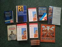 Learn Russian for a tenner! Books + dictionaries + cassettes job lot to learn or revise Russian