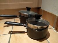 Two Non-Stick Saucepans (One Brand New)- Stainless Steel Steam Lids