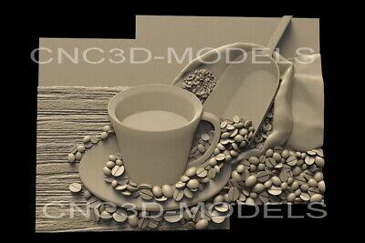 3d Stl Model For Cnc Router Carving Artcam Aspire Coffee Kitchen Decor D1