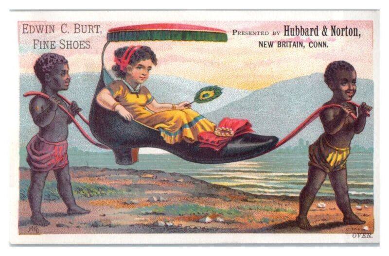 Black Slaves Carry White Girl Giant Shoe, Edwin Burt Shoes Victorian Trade Card