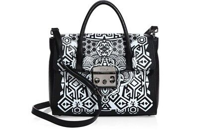 NWT FURLA Metropolis S Satchel Black/Gray in Tony Onyx Printed Leather Bag $578