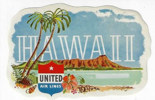 Original 1950s Vintage United Airlines Hawaii Luggage Label Decal Unused
