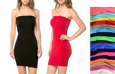 TIGHT FITTED STRETCH SEAMLESS STRAPLESS TUBE BODYCON MINI DRESS ONE SIZE ()