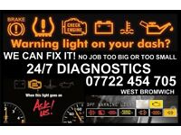 Full Car Diagnostic Lights on Dashboard Dpf Egr Limp Mode Glow Plug Lights Many More
