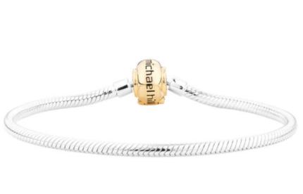 MICHAEL HILL 18CM SILVER BRACELET/GOLD CLASP(NEW)
