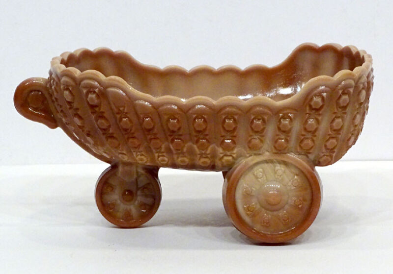 Vintage McKEE Caramel Slag CHOCOLATE GLASS Daisy Button BABY CARRIAGE Bowl