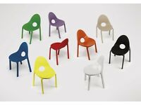 Red Green Blue & White Plastic Stackable Drop Chairs