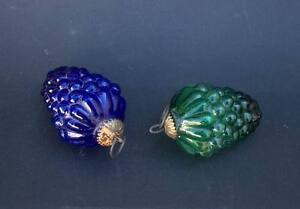 Superbe paire de boule de noel ancienne en verre grappe de raisin ebay - Boule de noel en verre ancienne ...