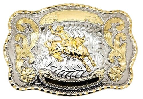Bull Rider Cowboy Rodeo Cowboy Western Large Belt Buckle Gold Color Fashion