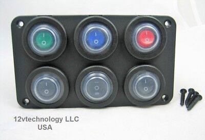 Waterproof Marine Double Sealed 12v Switch Panel Six Hole Choice Of Switch Types