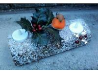 Winter snow scene table decoration.