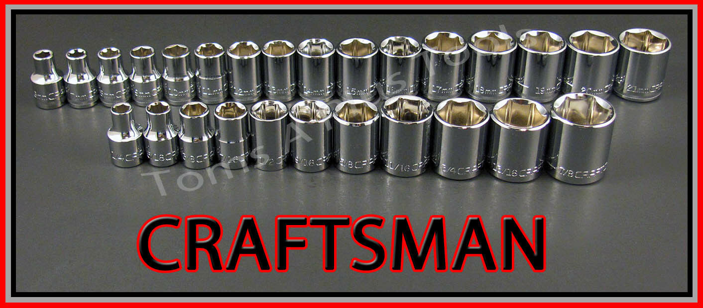 CRAFTSMAN HAND TOOLS 27pc LOT 3/8 6pt SAE & METRIC MM ratche