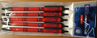 Nba Team Detroit Pistons    5  Click Pens   Black Ink Official Licensed