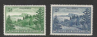 Norfolk Island 1959 Ball Bay defs--Attractive Landscape Topical (23-24) MNH