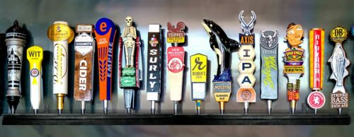 WALL MOUNT BEER TAP HANDLE DISPLAY BLACK FINISH FIFTEEN PLACE INCLUDES BRACKETS