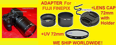 Camera Lens Adapter Tube +cap+uv 72mm Filter ->fuji S4250...