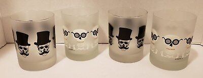 """4 Culver Frosted Halloween Skeleton Skull LowBall Glass Tumblers NEW 4 1/8"""" New"""
