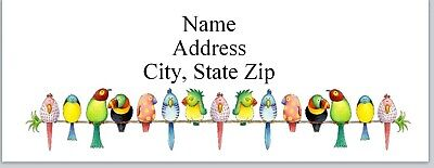 Personalized Address Labels Row Of Colorful Birds Buy 3 Get 1 Free Bx 830