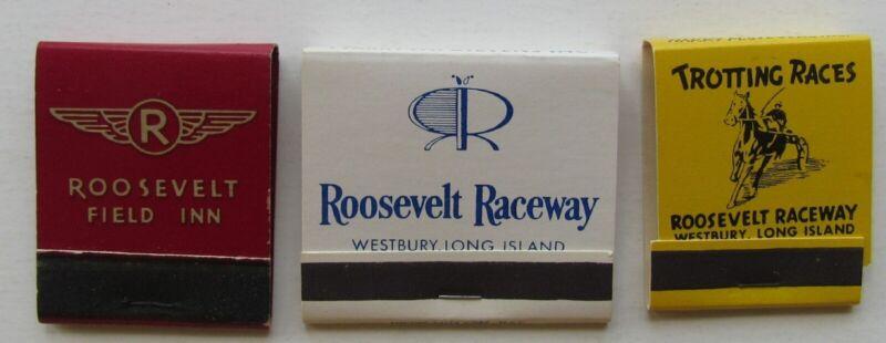 3 Roosevelt Raceway Matchbooks  Hard To Find 1 Roosevelt  Field Inn,  2- Raceway