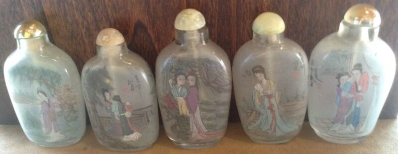 Vintage Chinese Signed Hand Painted Inside Glass Snuff Bottle. Assortment of 17.