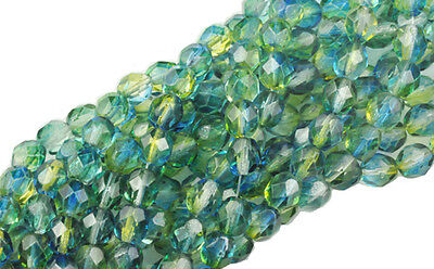 50 HAWAII ICE GLASS FACETED FIRE POLISHED LOOSE BEADS 6MM