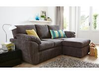 New Grey Fabric Corner Chaise Sofa