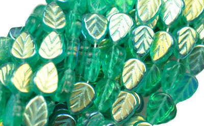 25 TEAL AB CZECH GLASS LEAF BEADS 10MM Ab Leaf Czech Glass Beads