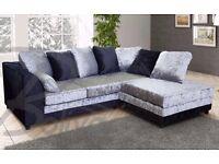 new right arm Dylan black silver crushed velvet corner sofa