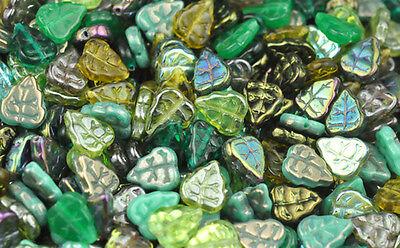 - 50 GREEN MIX CZECH GLASS LEAF BEADS 10MM