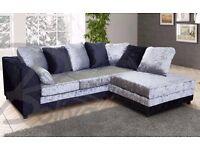 new Dylan black silver crushed velvet corner sofa
