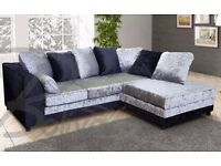 new right arm Dylan black silver crushed velvet corner sofa