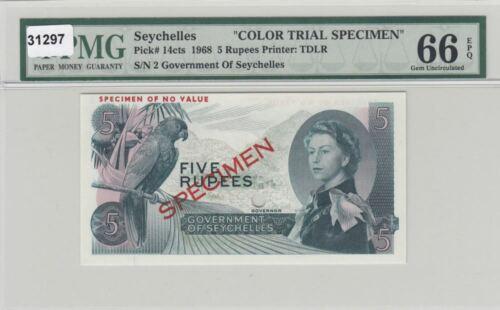 Seychelles 5 Rupees 1968 P14cts B121at PMG GEM UNC 66 EPQ Color Trial Specimen