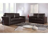 BRAND NEW LEATHER 3+2 BLACK OR BROWN SOFA + FREE DELIVERY AND FREE POUFFE