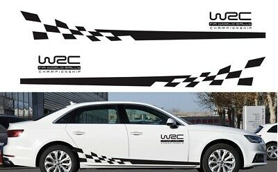 2 pcs WRC Racing Plaid Side Door Fender Black Stripes Stickers for Race Car SUV