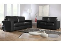 BRAND NEW READING LEATHER 3+2 SOFA SUITE BLACK OR CHOCOLATE + DELIVERY