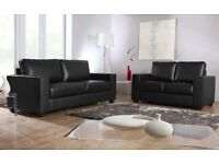 BRAND NEW LEATHER 3+2 SOFA SUITE BLACK OR CHOCOLATE + DELIVERY