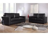 BRAND NEW LEATHER 3+2 SOFA IN BLACK OR CHOCOLATE BROWN + DELIVERY