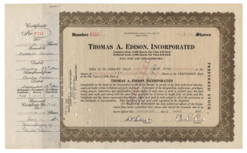 Thomas A. Edison, Inc. Stock Issued to and Signed Twice By Charles Edison