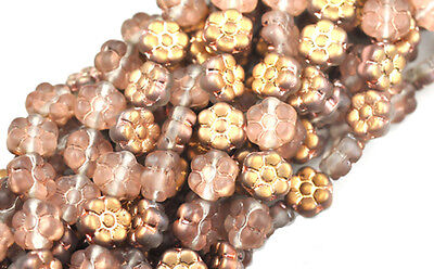 14 Apollo Gold Ab Frosted Glass Flower Beads 8Mm