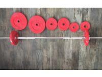 Weider weights and lifting bar