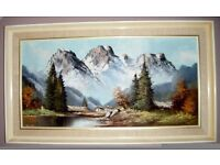 LARGE FRAMED SIGNED ORIGINAL ALPINE OIL PAINTING EXCELLENT CONDITION