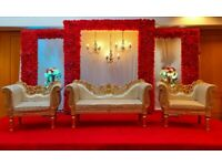 Wedding stage hire, mehendi stages, chair covers, house lighting etc