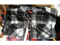 Quilted checked fleece hooded padded shirts