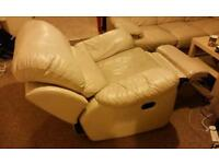 White Cream Leather Recliner Armchair