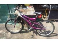 "Ladies ""Universal Team"" Purple & White, 24inch, fulll suspension, V frame, bike, 15 speed gears"