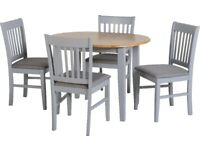 New grey & wood extending dining set with 4 chairs £289