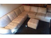 DFS Leather Creme sofa Large 7 seater with poofe
